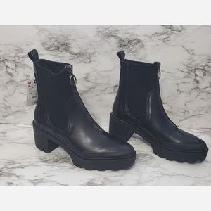Zara High Heel Track Sole Ankle Boots With Zip